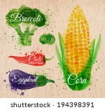 Vegetables set drawn watercolor blots and stains with a spray corn, broccoli, chili, eggplant on kraft paper
