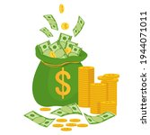 money bag with banknotes.... | Shutterstock .eps vector #1944071011