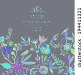 hand drawn vintage floral... | Shutterstock .eps vector #194411321