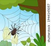 cobweb on a tree. landscape in... | Shutterstock .eps vector #1944145057