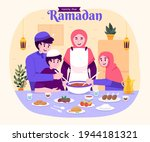 moslem family iftar enjoying... | Shutterstock .eps vector #1944181321