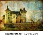 beautiful Saumur castle - vintage picture - stock photo