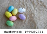 Colorful Easter Eggs Lie On...