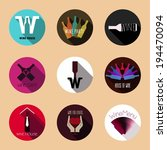 wine flat icons. vintage... | Shutterstock .eps vector #194470094