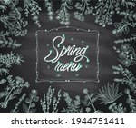 chalk spring menu with herbal...   Shutterstock .eps vector #1944751411
