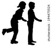 vector silhouette of children... | Shutterstock .eps vector #194475524