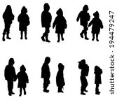 vector silhouette of children... | Shutterstock .eps vector #194479247