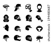 set icons of helmets and masks... | Shutterstock .eps vector #194480687