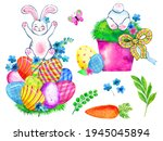Cute Easter Bunny And Eggs Set...