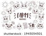 animal doodle background. farm...   Shutterstock .eps vector #1945054501