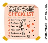 cute funny self care to do list ...   Shutterstock .eps vector #1945072507
