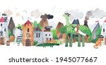 pirate village. fortress with... | Shutterstock . vector #1945077667