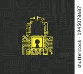 dark background with circuit... | Shutterstock .eps vector #1945078687