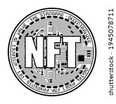 black coin with nft silhouette... | Shutterstock .eps vector #1945078711