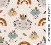 seamless pattern with tribal...   Shutterstock .eps vector #1945105444