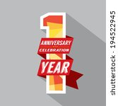 first year anniversary... | Shutterstock .eps vector #194522945