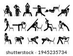 chair yoga exercises stick... | Shutterstock .eps vector #1945235734