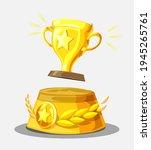 gold trophy cup on winners...   Shutterstock .eps vector #1945265761