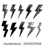 set of black grungy lightnings. ... | Shutterstock .eps vector #1945337044