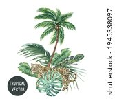 vector tropical palm tree ... | Shutterstock .eps vector #1945338097