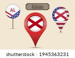 alabama us state round flag.... | Shutterstock .eps vector #1945363231