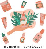 skin care routine. natural eco... | Shutterstock .eps vector #1945372324