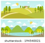 two summer landscape banners | Shutterstock .eps vector #194540021