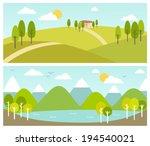 two summer landscape banners | Shutterstock .eps vector #194540021