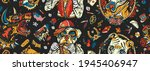 dogs. seamless pattern. old... | Shutterstock .eps vector #1945406947
