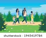 parents and children walk along ... | Shutterstock .eps vector #1945419784