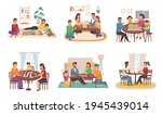 people play board games at home....   Shutterstock .eps vector #1945439014