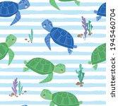 sea turtle seamless pattern... | Shutterstock .eps vector #1945460704