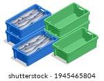 isometric fresh fish in plastic ... | Shutterstock .eps vector #1945465804