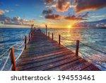 bright ocean pier sunrise with... | Shutterstock . vector #194553461