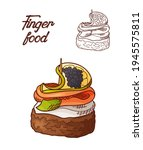 hand drawn finger food element. ... | Shutterstock .eps vector #1945575811