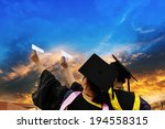 beautiful female graduates... | Shutterstock . vector #194558315