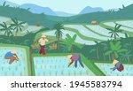 terraced asian rice fields in... | Shutterstock .eps vector #1945583794