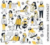doodle set of various character ... | Shutterstock .eps vector #1945642627