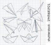 vector set of sketch origami... | Shutterstock .eps vector #1945681921