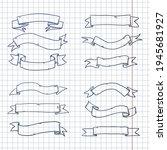 vector set of sketch ribbons.... | Shutterstock .eps vector #1945681927