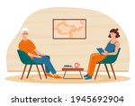 social worker taking care about ...   Shutterstock .eps vector #1945692904