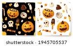 hand drawn halloween... | Shutterstock .eps vector #1945705537
