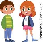 two school children talking... | Shutterstock .eps vector #1945712014