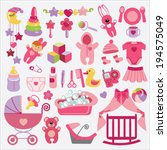 a set of cute items for newborn ... | Shutterstock .eps vector #194575049