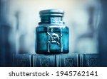 Glass poison bottle with skull...