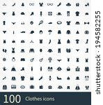 100 clothes icons set