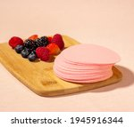 Wafers Placed On A Wooden Board ...