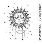beautiful boho sun with face ... | Shutterstock .eps vector #1945965004