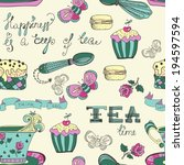 color tea time pattern with... | Shutterstock .eps vector #194597594