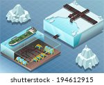 Detailed Illustration of a Isometric Arctic Subsea Farm and Tubes
